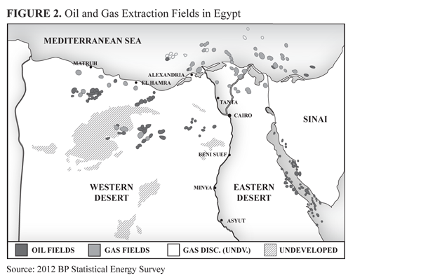 Map of fields in Egypt